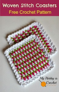 woven stitch coaster free crochet pattern