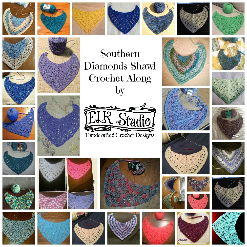 Southern Diamonds Shawl CAL Collage 2 by ELK Studio