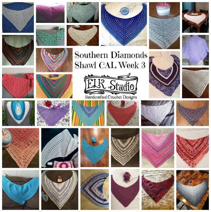 Southern Diamonds Shawl CAL Week 3 by ELK Studio