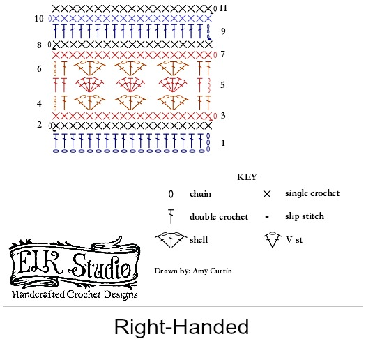 Original Stitch Diagram for Southern Diamonds Wrap Right Handed