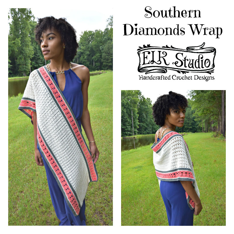 Southern Diamonds Wrap Stitch Diagram by ELK Studio - A Free Crochet Pattern