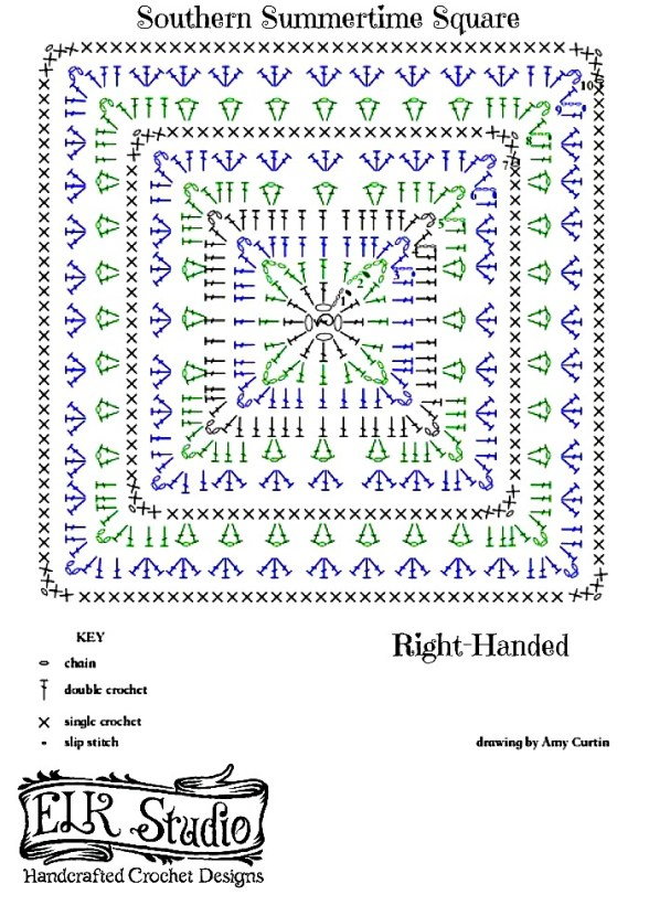 Southern Summertime Square by ELK Studio Right-Handed Stitch diagram A FREE Pattern