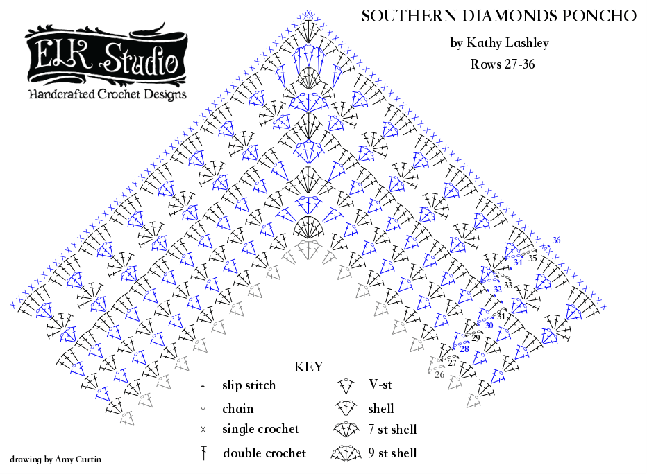 southern diamonds poncho stitch diagram 27 36 elk studio rh elkstudiohandcraftedcrochetdesigns com crochet stitches diagrams crochet stitch diagrams pdf jackets