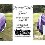 Southern Trails Shawl Stitch Diagram Rows 1-10