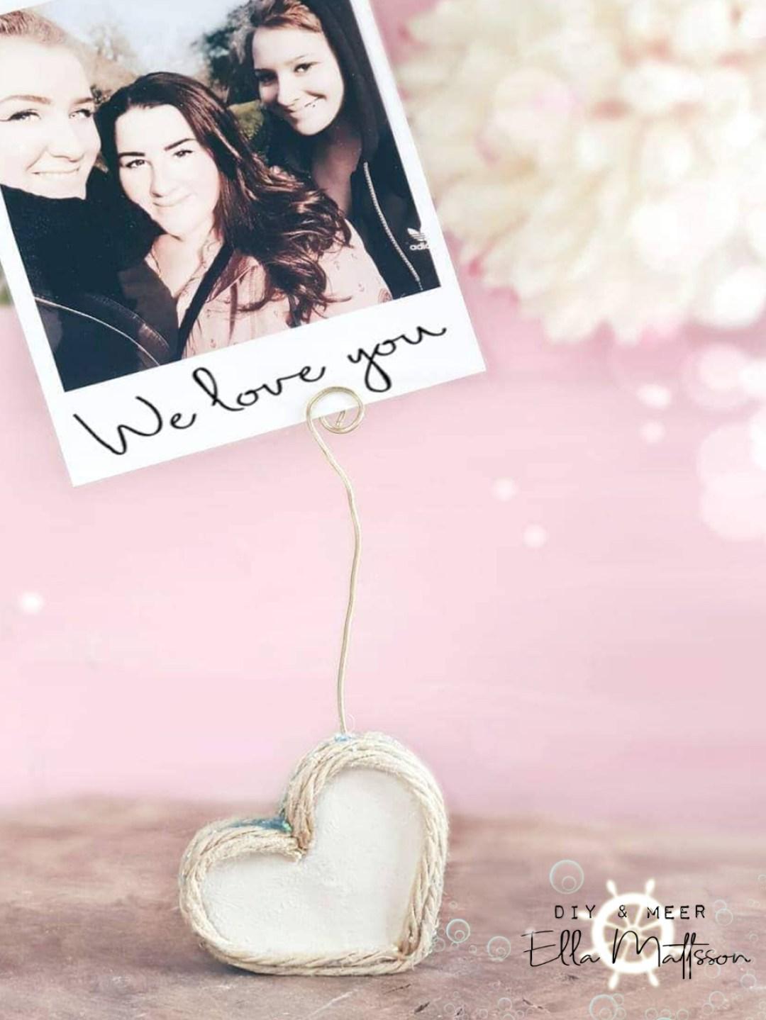 Herz Fotohalter diy basteln geschenkidee muttertag valentinstag
