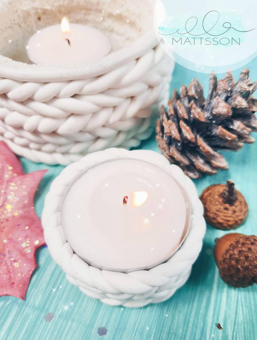 fimo strickmuster teelichthalter diy basteln weihnachten