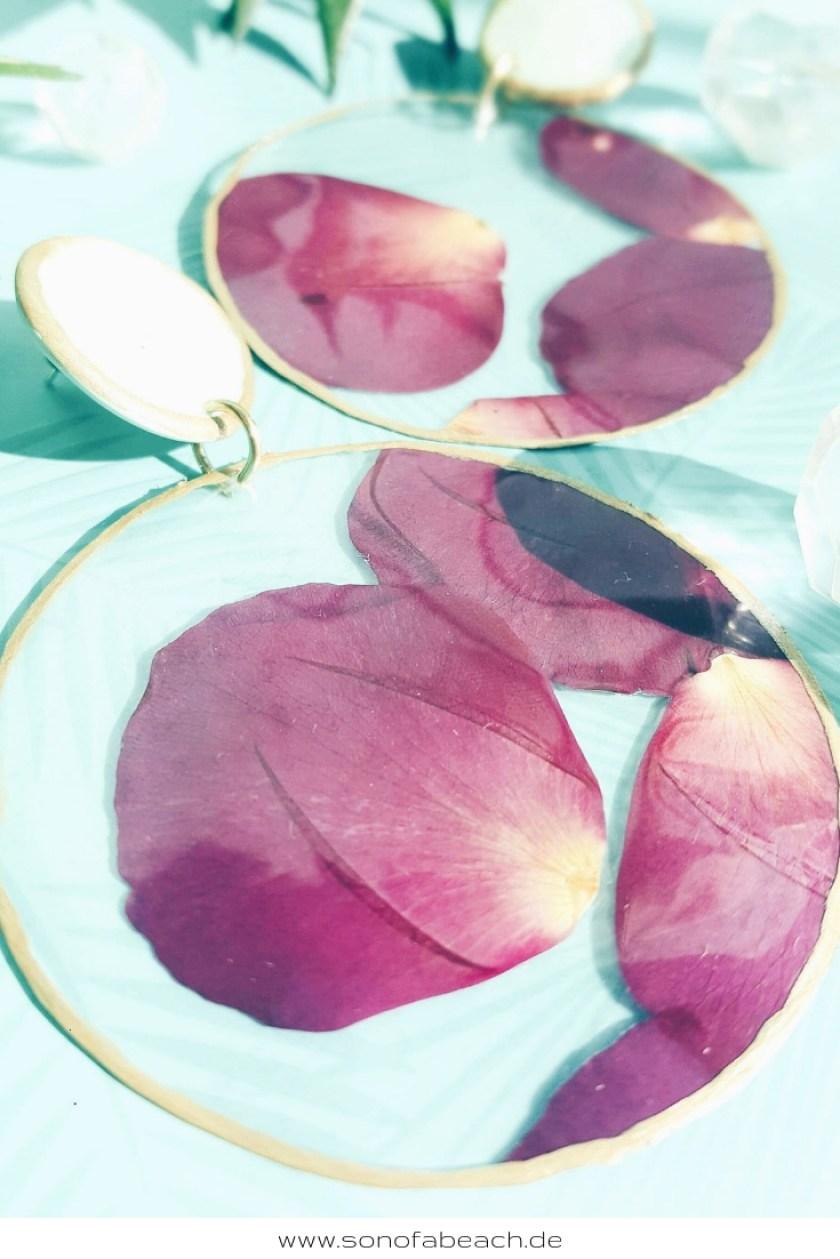 ohrringe selbermachen diy basteln rosenblätter selbermachen handgemacht