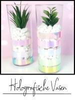 vase aus longdrinkglas mit holo effekten upcycling
