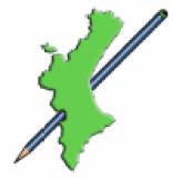 Logo de El lápiz mediterráneo, que consiste en el mapa de la Comunitat Valenciana de color verde y un lápiz azul con una raya blanca que atraviesa el mapa por debajo.