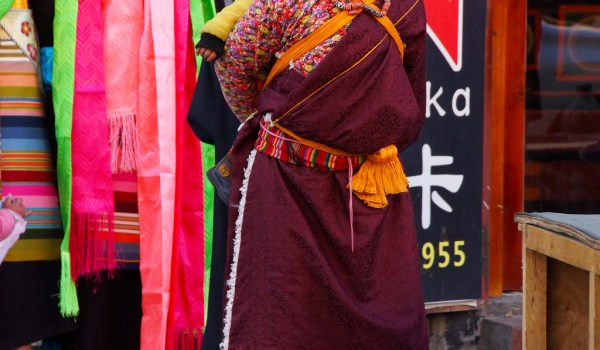 Lhasa: a woman with a special hat from probably a remote area of Tibet