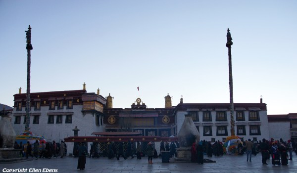 Lhasa: the Jokhang Temple at sunrise on a cold winter day Temple at sunrise on a cold winter day winter day