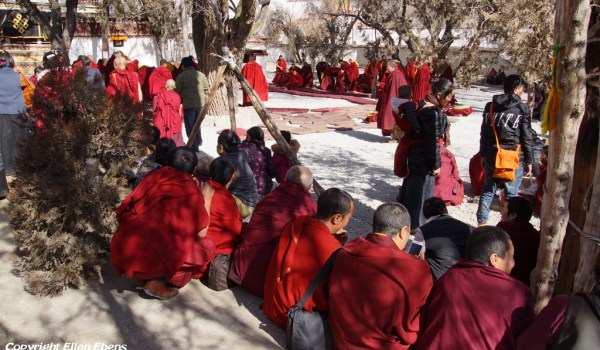 Special ceremony at Sera Monastery, Lhasa: monks entering the debating court yard