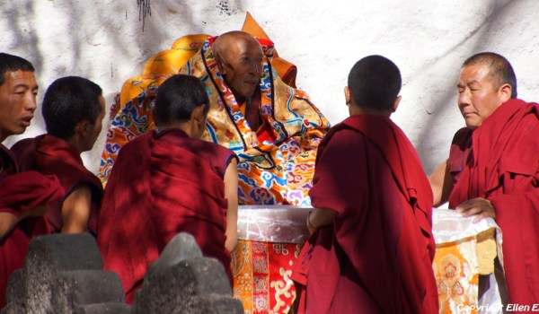 Special ceremony at Sera Monastery, Lhasa: Shampa Thudan Rinpoche (Champa Thupten Rinpoche) is helped on his throne