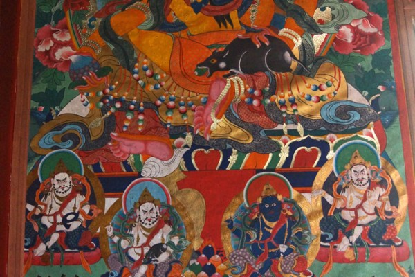 Wall paintings at the monastery high above the town of Guanyinqiao