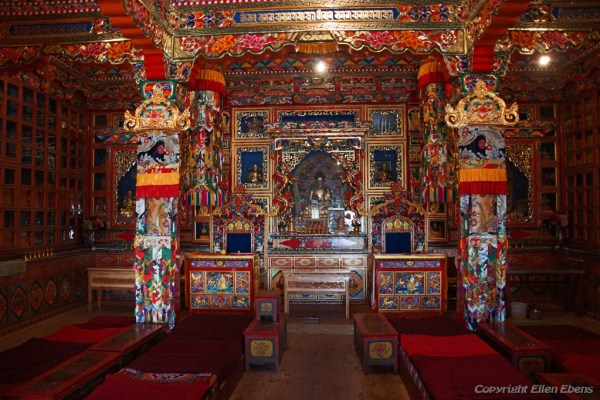 Inside a small temple at Dagzha Monastery at Zoige