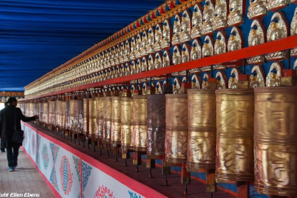Prayer wheels inside the stupa of Gomar monastery near Rebkong (Tongren)