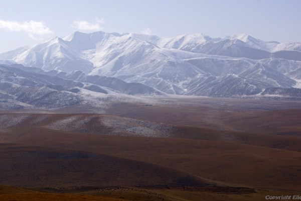 Landscape on the way from Xining to Xiahe near the village of Guashize