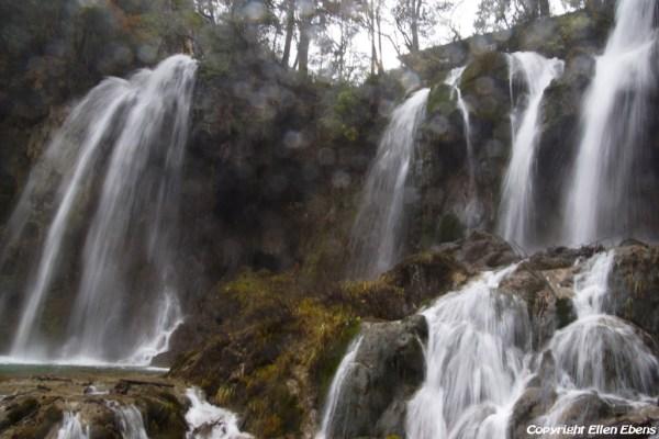Jiuzhaigou National Park: waterfalls of Panda Lake