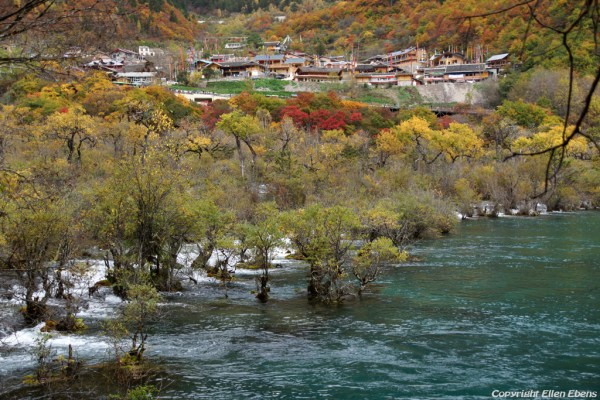 Jiuzhaigou National Park: Shuzheng Village with Shuzheng Falls
