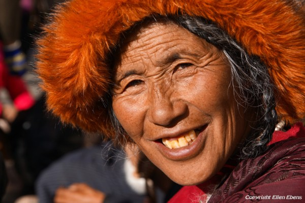 Lhasa, portrait of a pilgrim at the Barkhor