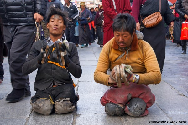 Lhasa, prostrating pilgrims at the Barkhor