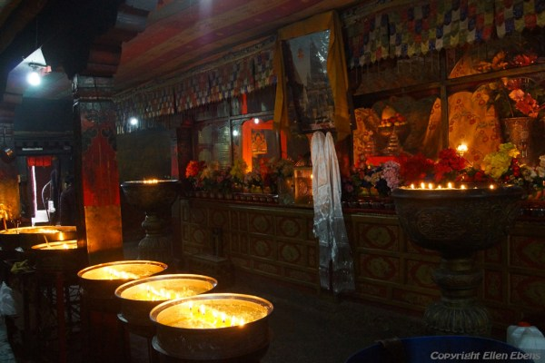Lhasa, inside the chapel of the Meru Nyingba Monastery. This monastery is in an alley immediately behind the Jokhang Temple