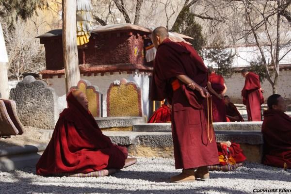 Lhasa, debating monks at Sera Monastery