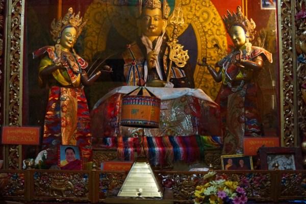 Inside Thandruk Monastery, statue of Padmasambhava