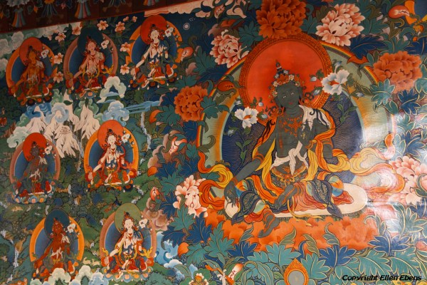 Mural at Thandruk Monastery, depicting the Green Tara