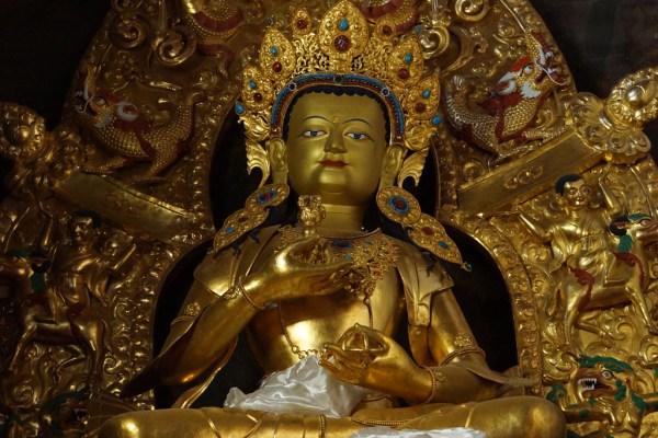 Inside the main assembly hall of Samye Monastery