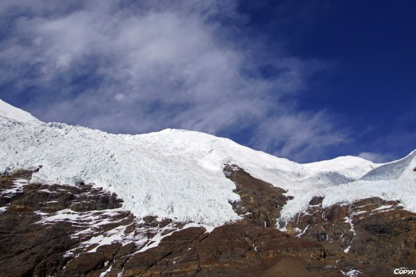 At the Karo La Pass (4960m) with the glaciers of the Nojin Kangtsang mountain