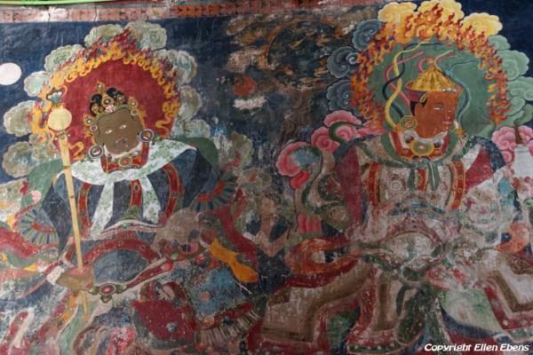 Old murals inside Puntsholling Monastery