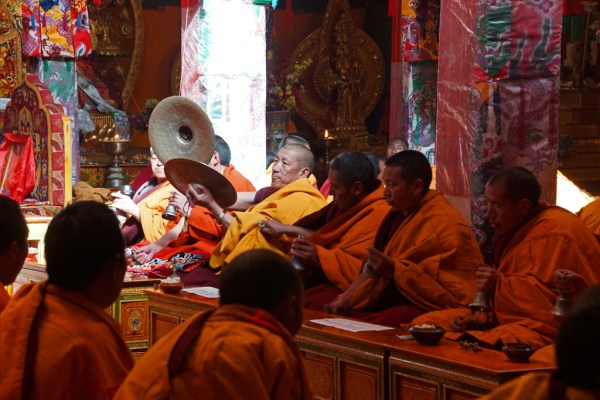 Monks chanting at Driging Till Monastery