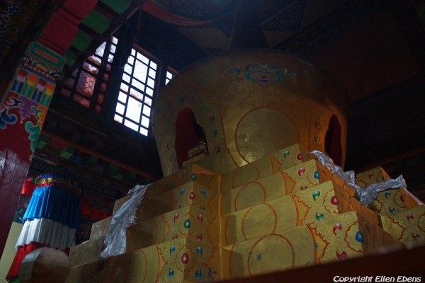 Stupa inside a hall at Tsurphu Monastery