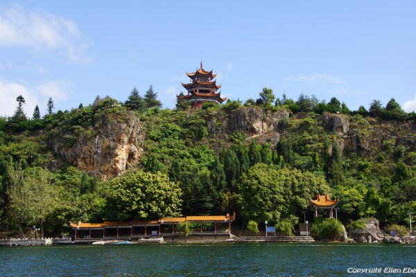 The island with temple at Fuxian Lake