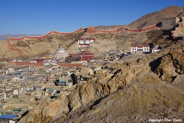 Pelkor Chöde Monastery with the Kumbum at Gyantse seen from a hill