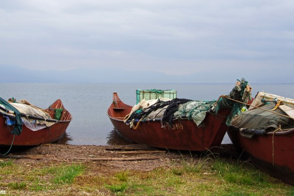 Fishing boats at the shore of Fuxian Lake