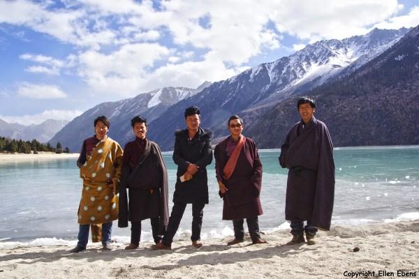 A group of Tibetan men visiting Ranwu lake in eastern Tibet