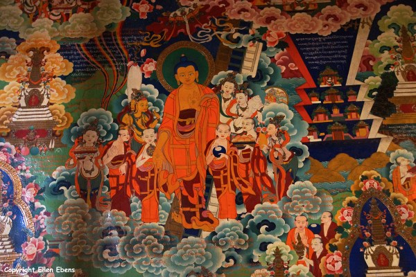 Wall painting at Tandruk Temple near the town of Tsedang