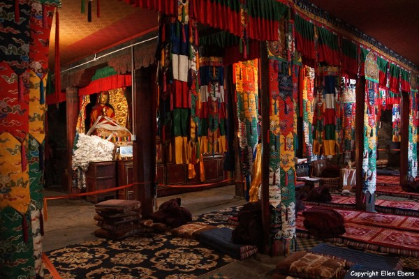 Inside one of the minor temples of Samye Monastery