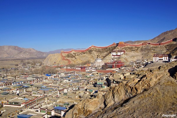 View over the town of Gyantse with the Pelkor Chode Monastery with the Kumbum Stupa