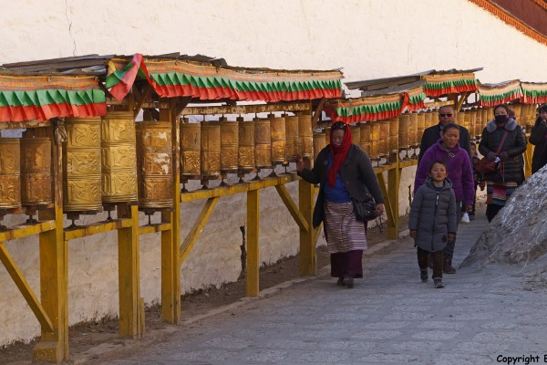 Walking the kora around Tashilhunpo Monastery, Shigatse