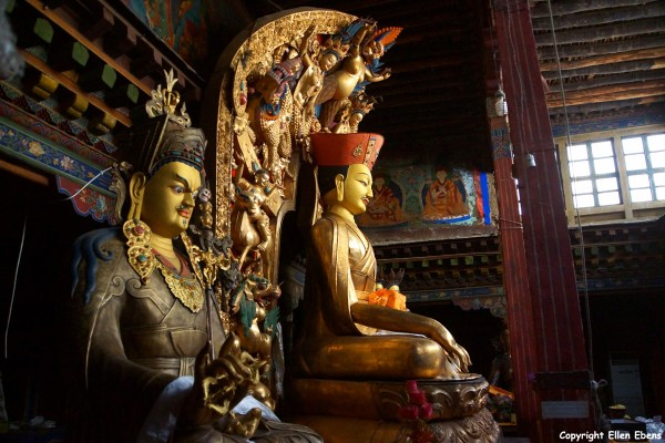 Statues inside Taklung Monastery