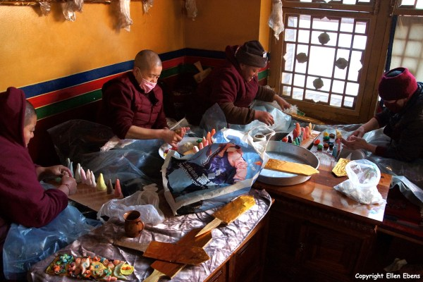 Nuns making decorations of yak butter for the Tibetan New Year, Ani Tsankhung Nunnery