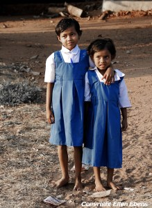 Girls in school uniform at Pachmarhi