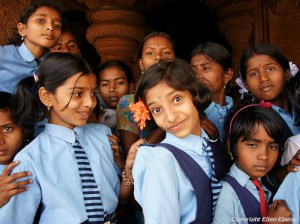 Schoolgirls at the village of Badami