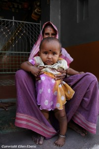 Grandmother with granddaughter at the village of Badami
