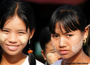 Schoolgirls in a procession celebrating the New Moon Festival