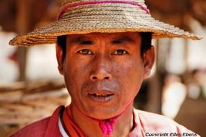Man at the five day market of Khaung Daing, Inle Lake