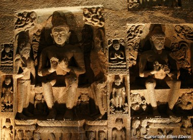 Ajanta: 29 rock-cut Buddhist cave monuments which date from the 2nd century BC to about 480 or 650 AD